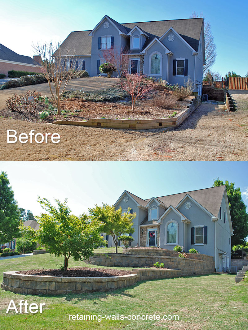 timber retaining wall replacement alpharetta ga
